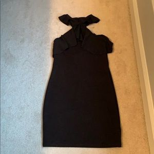 Zara ruffle strap black dress, size small